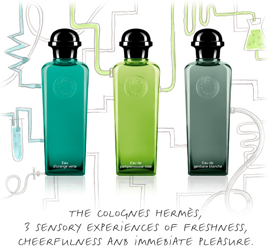 The Colognes Hermès, 3 sensory experiences of freshness, cheerfulness and immediate pleasure.