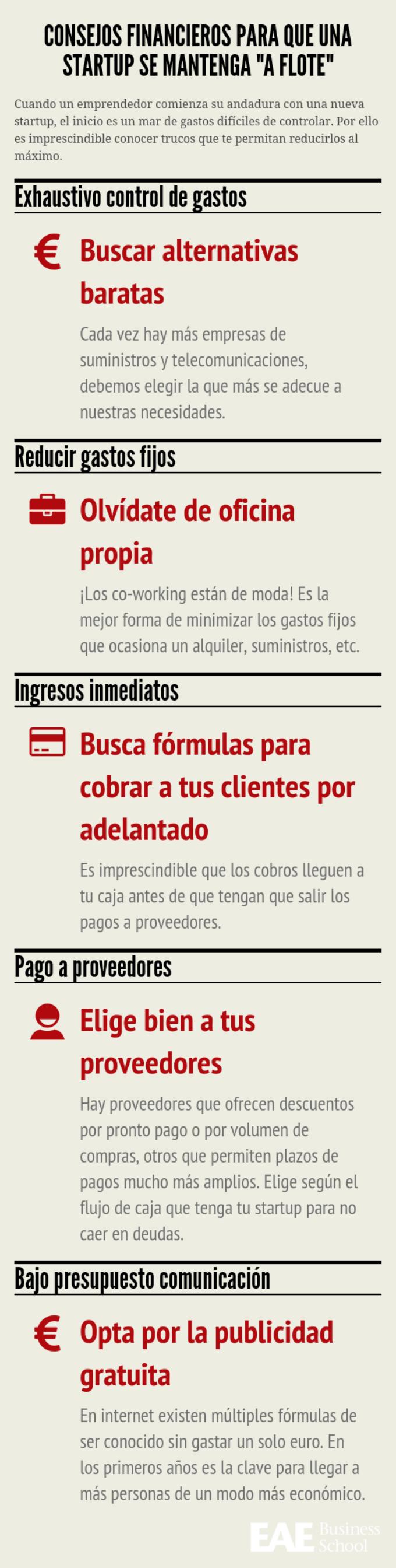 Infografía con consejos de finanzas para una startup
