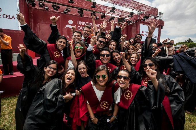 Students of EAE Business School celebrating their graduation