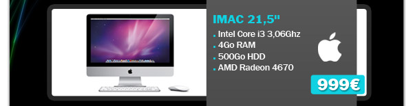 Apple-iMac-MC508-215-pouces-Intel-Core-i3-306-GHz 999 euros