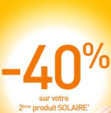 -40% sur votre 2ème produit SOLAIRE*