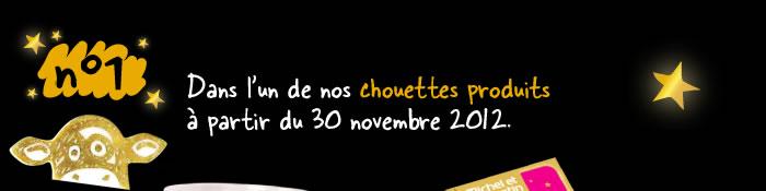 Dans l'un de nos chouettes produits à partir du 30 novembre 2012