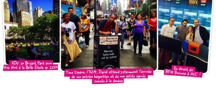RDV au Bryant Park pour Une Nuit à la Belle étoile 2015 ! / Time Square, 17h34, David attend patiemment l'arrivée de nos petites baguettes et de nos petits carrés coincés à la douane /  En direct de BFM Business à NYC!
